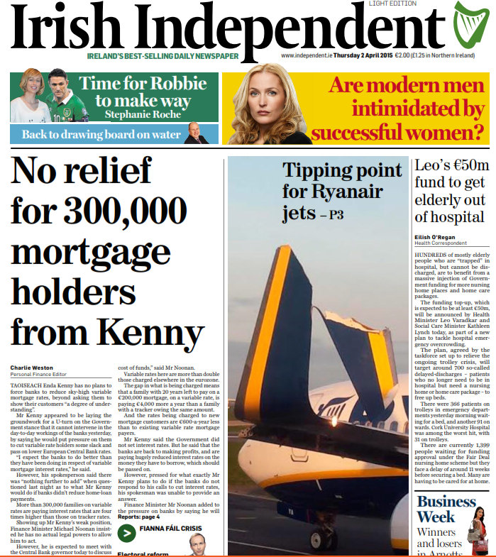Front page story in both the Irish Independent and Irish ...